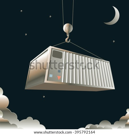 Freight container lifted by crane on a background of the night star sky. Sea freight transportation. Cargo shipping. Sea port at night. Parcel delivering. Vector illustration - stock vector