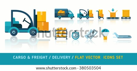 Freight delivery transportation and logistic flat icons set vector illustration. Isolated on white background. Delivery service transport. - stock vector