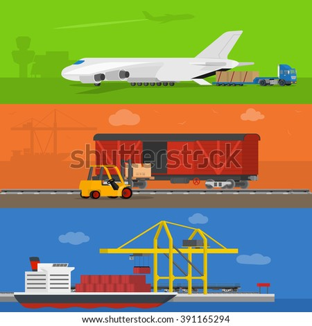 Freight logistics and transportation ways featuring seaway cargo shipping airway freight. Delivery services abstract isolated vector illustration - stock vector