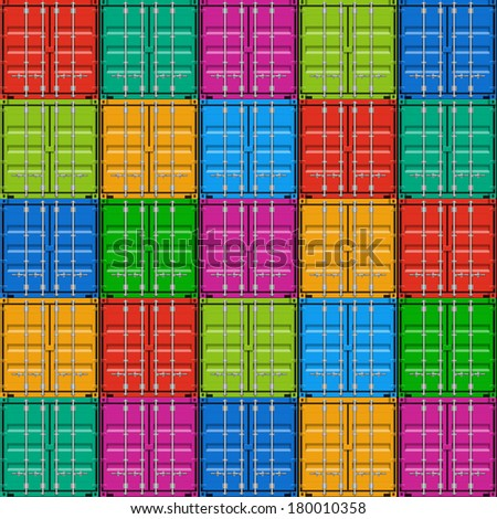 Freight shipping, stacked cargo containers. Seamless vector. - stock vector