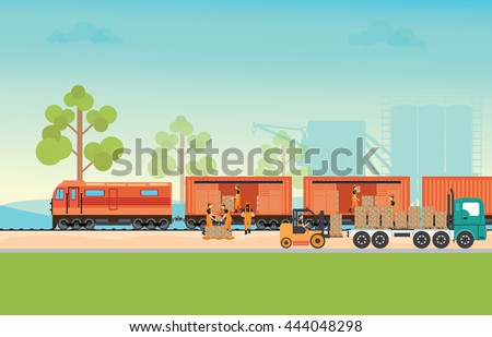 Freight train cargo cars. Container and box freight train cars. Logistics heavy railway transport design elements. Flat style vector illustration. - stock vector