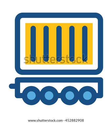 Freight Train Vector Icon - stock vector