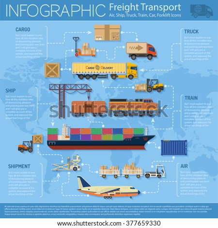 Freight Transport and Packaging Infographics in Flat style icons such as Truck, Plane, Train, Ship. Vector for Brochure, Web Site and Printing Advertising on theme delivery of goods. - stock vector
