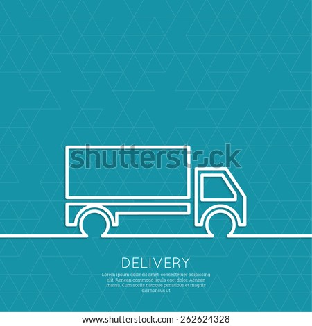 Freight transport. Concept delivery service. Truck delivers the goods. Outline. minimal. - stock vector