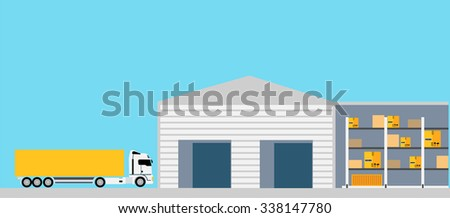 Freight transportation concept design style. Logistic and freight truck, truck cargo, container and transport, package and delivery, box and order, vehicle and export, warehouse and van illustration - stock vector