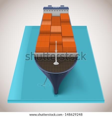 freighter vector - stock vector