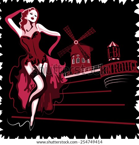 French abstract woman in cabaret Moulin Rouge in Paris (poster or card) - stock vector