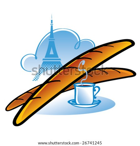 French Baguette Drawing French Baguette Stock Vector