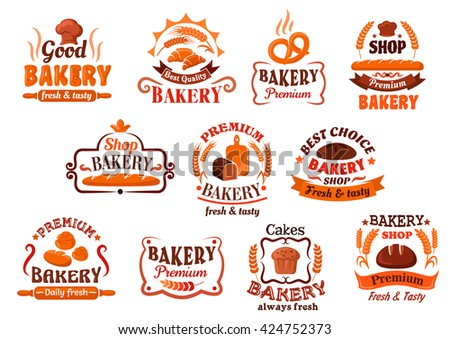 French baguettes and croissants, raisins cupcake, pretzel and cinnamon rolls, loaves framed by ribbon banners, wheat ears and vignettes. Bakery, pastry and cake shop signboard or promotion design