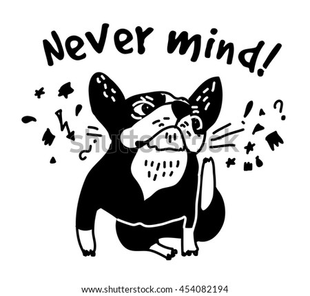 French bulldog scratch head and sign fun cute animal. Color vector illustration. EPS8
