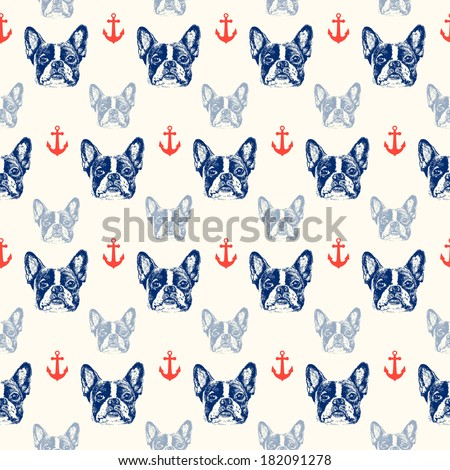 French bulldog seamless pattern - stock vector