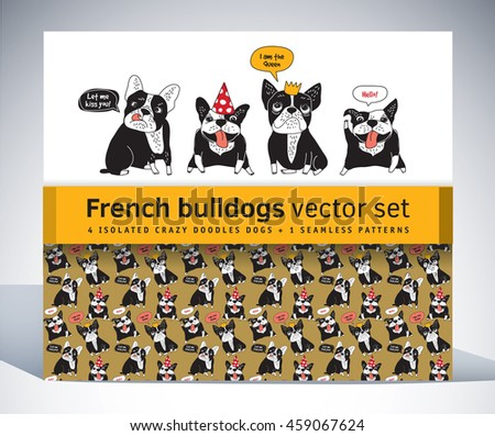 French bulldog set pack characters pattern and objects. Color vector illustration. EPS8