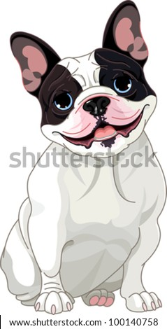 French bulldog, sitting in front of white background - stock vector