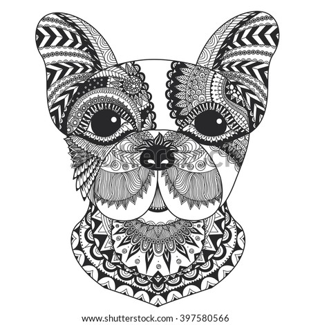 French Bulldog Zentangle Styled Clean Lines Stock Vector