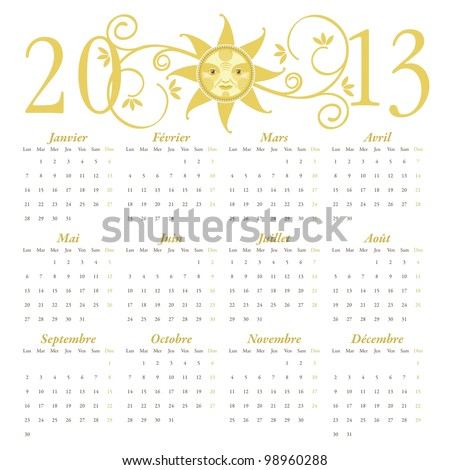 French calendar for 2013 with decorative header - stock vector