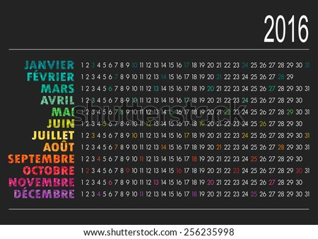French calendar for year 2016, vector illustration