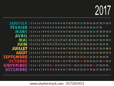 French calendar for year 2017, vector illustration