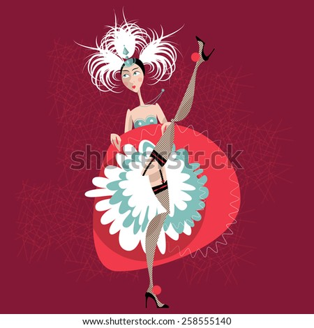 French cancan dancer. Vector illustration - stock vector