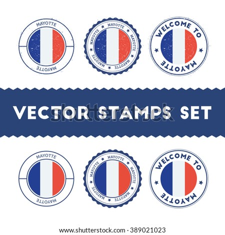 French Flag Grunge Rubber Stamp Designs of Mayotte National Colors. Set of French Flag Color Ink Stamps. Textured Vector Illustration