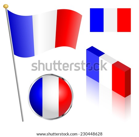 French flag on a pole, badge and isometric designs vector illustration.  - stock vector