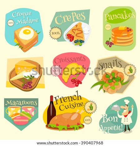 French Food Menu Mini Labels Set with Traditional Meal. Vector Illustration.