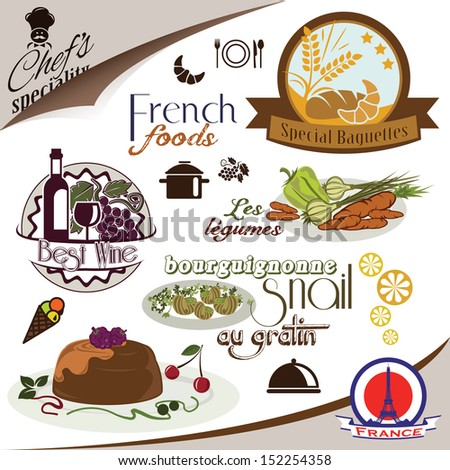 French foods. Restaurant menu stickers and symbols - stock vector