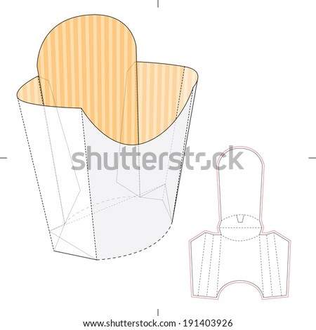French Fries Disposable Paper Box Die Stock Vector 191403926 ...