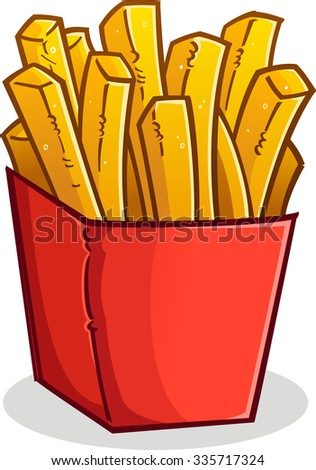 French Fries in a Box Cartoon - stock vector