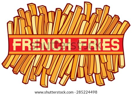 french fries label (french fries symbol) - stock vector