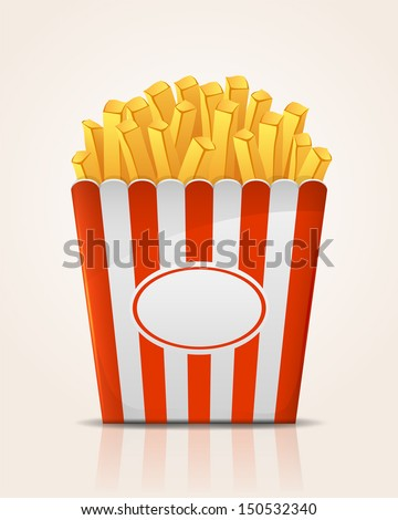 French fries potato in paper bucket, illustration.