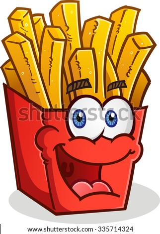 French Fries Smiling Cartoon Character