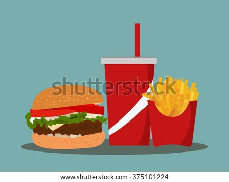 french fries, soda takeaway on isolated background. Fast food. Flat design. Vector Illustration