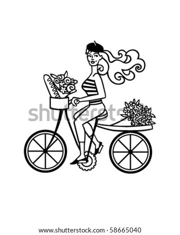 French Girl On Bike - Retro Clip Art - stock vector