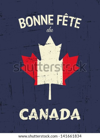 "French ""Happy Canada Day"" greeting card design. - stock vector"