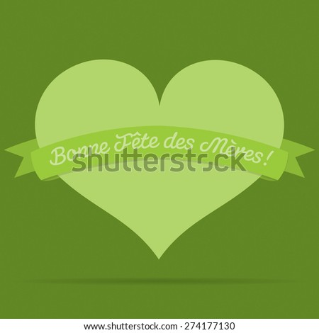 French Heart with ribbon Happy Mother's Day card in vector format.