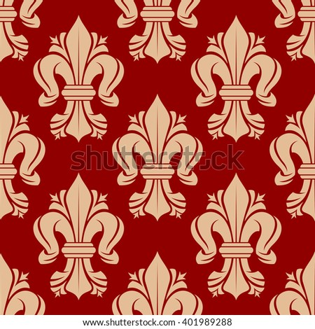 French heraldic lilies seamless pattern with bold ornament of beige fleur-de-lis symbols on red background. Vintage interior accessories, royal theme background or fabric design - stock vector