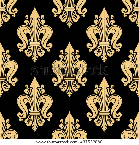French heraldic seamless floral pattern of yellow fleur-de-lis motif on black background with royal lilies bunches. Use as vintage interior accessories or upholstery design  - stock vector