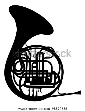 French horn  silhouette vector