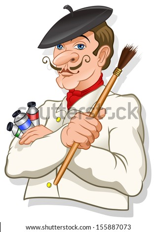 French inspired artist with a brush and color tubes - vector