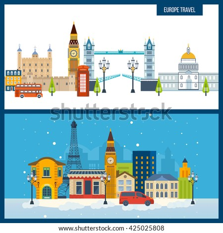 French Landmarks. Historical and modern building.  - stock vector