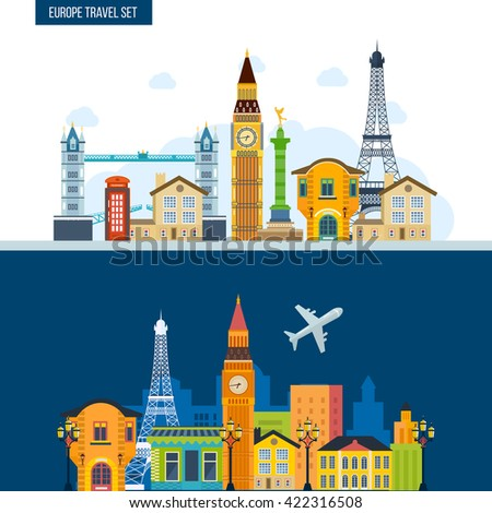 French Landmarks. Travel to Europe. London and Paris city. Historical and modern building.  - stock vector