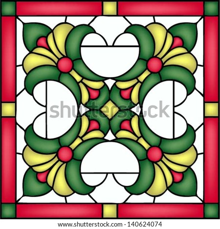 French Lilies, tile design, symmetric composition, seamless background, vector illustrations in stained glass window - stock vector