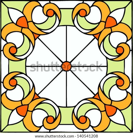 French Lily, symmetric composition, seamless background, vector illustrations in stained glass window - stock vector