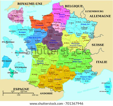 French Map France Colorized Departments Prefectures Stock Vector - Map of france in french
