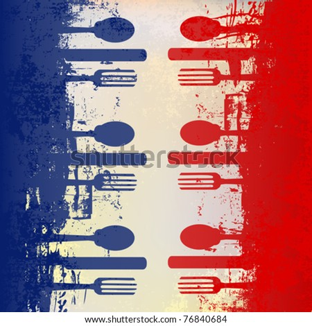 French Menu Vector template over a flag of France - stock vector