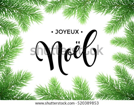 French Merry Christmas Joyeux Noel text lettering in frame of pine, fir, spruce tree branches. Festive Noel greeting card with Christmas golden stars ornaments