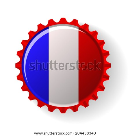 french  on bottle caps  - stock vector
