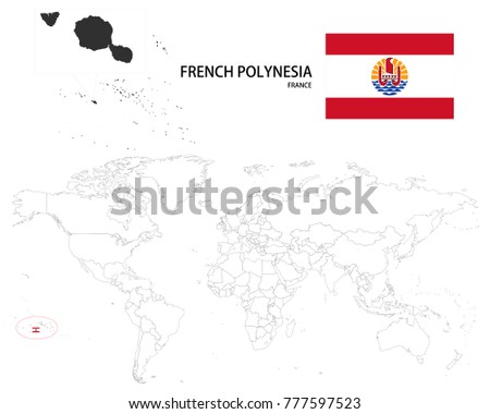 French polynesia france map on world stock vector 777597523 french polynesia france map on a world map with flag on white background gumiabroncs Images