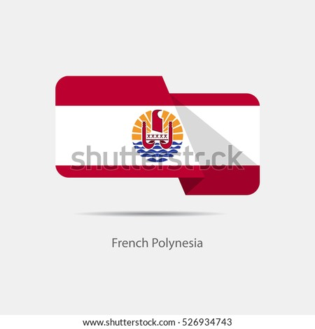 French Polynesia national flag on a white background with shadow. vector illustration