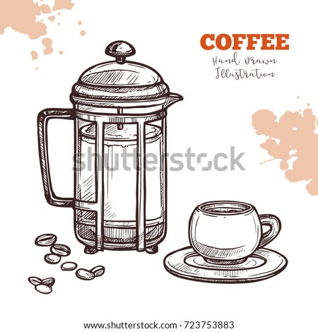 French Press Cup With Saucer And Coffee Beans Preparation Serving Hand